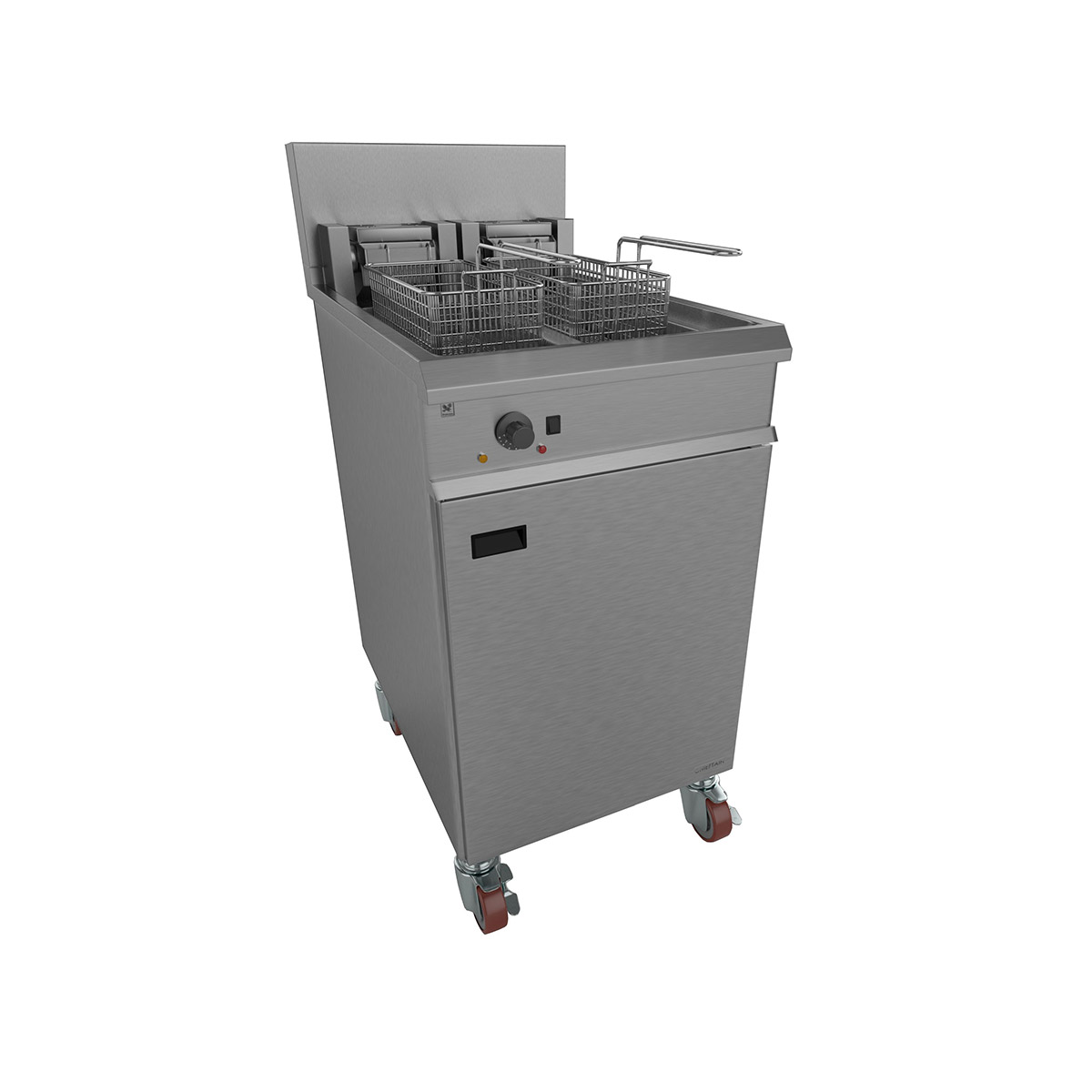 Falcon Chieftain Electric Freestanding, Single Pan, Twin Basket On Casters E1848