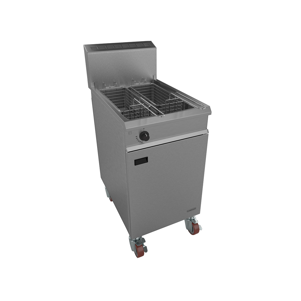 Falcon Chieftain Gas Heavy Duty Single Pan Twin Basket Fryer On Casters G1838X