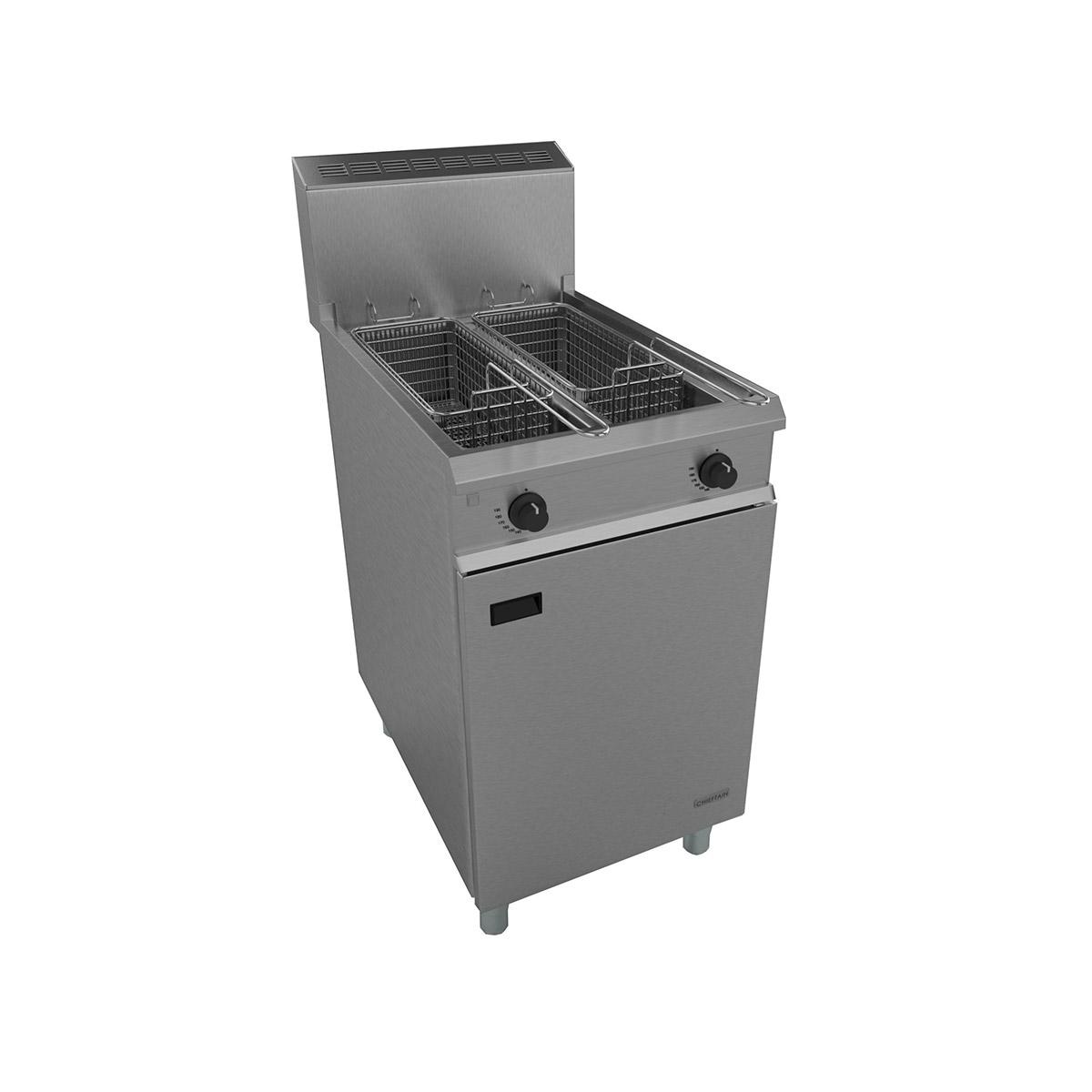 Falcon Chieftain Gas Heavy Duty Twin Pan Twin Basket Fryer On Casters G1848X