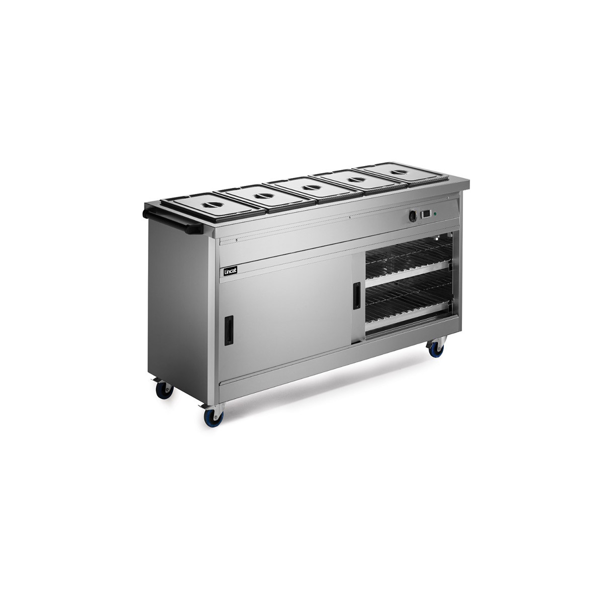 P6B5 - Lincat Panther 670 Series Free-standing Hot Cupboard - Bain Marie Top - 5GN - W 1855 mm - 5.2 kW