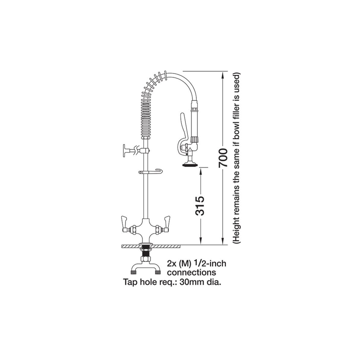 AquaJet AJPR20-SH-BF0-S Pre Rinse Spray Hose