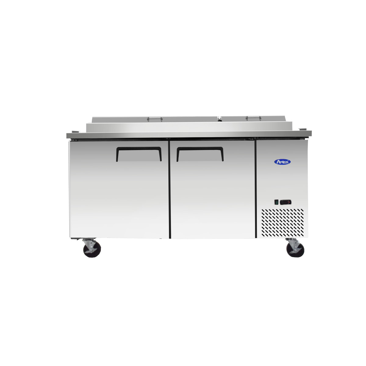 Atosa MPF8202GR 2 Door Refrigeration Preparation Table Including 9x 1/3 GN Pan Option