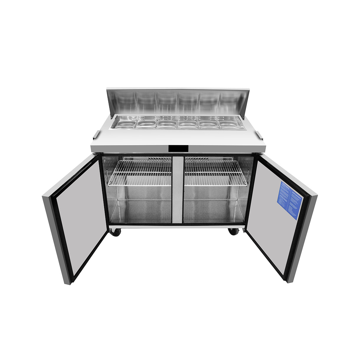Atosa MSF8302GR Heavy Duty 2 Door Prep Counter 340 Litres with 6 x 1/3 GN pans
